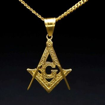 Masonic Gold Freemason Symbol Necklace