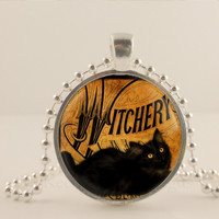 "Witchery, black cat, Halloween, 1"" glass and metal Pendant necklace Jewelry."