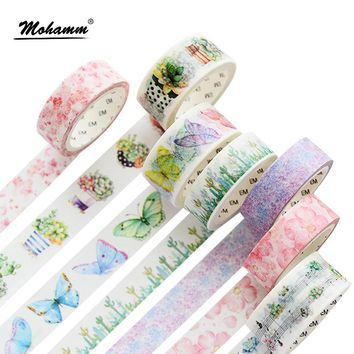DIY Cute Kawaii Flowers Plants Masking Washi Tape Lovely Decorative Adhesive Tape For Home Decoration Diary School Office Supply