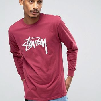 Stussy Long Sleeve T-Shirt With Large Logo at asos.com