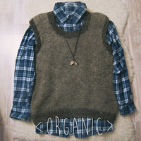 Hipster Sweater Vest -  Virgin Wool Sleeveless Sweater - Made to Order - Organic Rustic Wear - Unisex Grunge Sweater