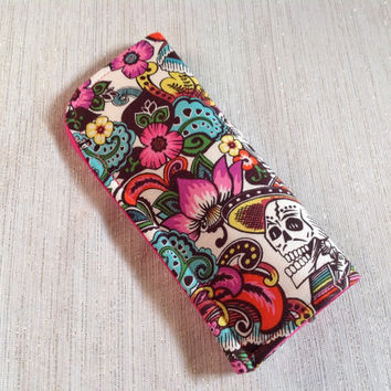 Padded Protective Pouch for Glasses Floral Catrina or Spanish Lace Eyeglass Case Your Choice of One