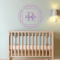"""Personalized Scroll Frame and Initial Wall Decal Monogram Nursery Wall Decal Girl Name 22"""" X 22"""""""