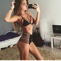 Push Up High Waist Bikini Set Hollow Bandage Swimsuit Bathing Suit