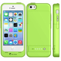 i-Blason Apple iPhone 5C PowerGlider Rechargeable External Battery Full Protection Case [iOS 7 Compatible] with Apple new 8 Pin Lightning Charging Connectors - AT&T, Sprint, Verizon. T-Mobile (Green)