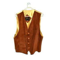 70s Mens Leather Vest Waistcoat Brown Suede Vintage Extra Large XL L Vintage 1970s