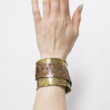 Vintage Brutalist Bracelet - Metal Art Cuff Copper & Brass Modernist 1980s