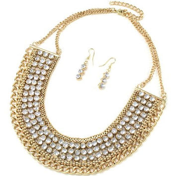 Goldtone 18 Inch Adjustable Multi Chain Necklace with Resin Stones and Matching Earrings Jewelry Set (Clear)