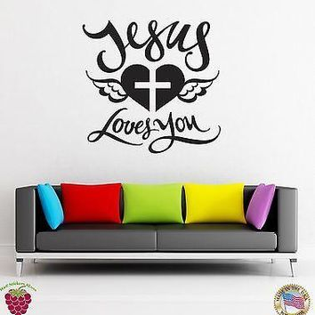 Vinyl Decal Wall Stickers Religion Jesus Love You Cross And Heart (z1701)