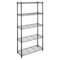 5-Shelf Storage Shelves Unit in Black-Coated Chrome Steel