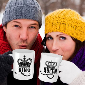 King and Queen Crown White Mug Set of 2