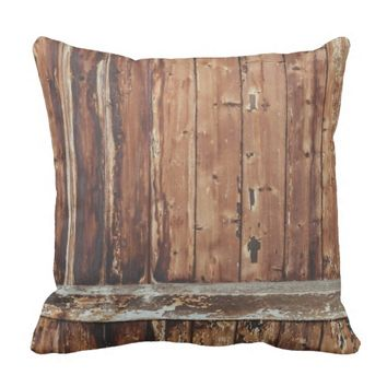 Aged Wooden Fence Throw Pillow