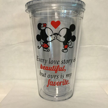 "Mickey and Minnie ""every love story is beautiful but ours is my favorite"" double wall tumbler with straw"