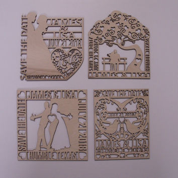 Save the Date, Wood Shapes, Custom Engraved Favors, Magnets, Personalized Wood Favors, Wood Save the Date, 25 PIECES