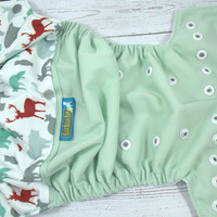 Forest Life, PK (Celery outer, two-toned snaps- Silver caps/White pieces) Wrap Around, OS Pocket DiaperInstock and ready to ship