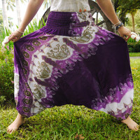 Thai Harem Pants in Cotton, Black&White w Purple Elephant Design
