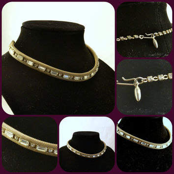 Choker Necklace - Rhinestones in Mesh - Baguette and Round Rhinestones - Silver Tone Mesh - Vintage 50s 60s Fashion Statement