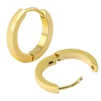 ZS Small Hoop Earrings Gold Color Stainless Steel Hoop Earrings For Women Men Circle Earrings Color Creole Argollas Pendientes