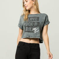 BRAVADO Love Rock N Roll Womens Crop Tee