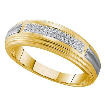 10kt Yellow Two-tone Gold Men's Round Diamond Double Row Wedding Band 1/10 Cttw - FREE Shipping (US/CAN)