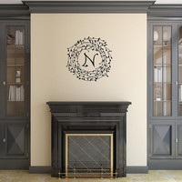 Monogram Laurel Vine Wreath Personalized Vinyl Wall Decal 22494