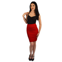 Atomic Apparel Red Pleated Scarlet Pencil Skirt
