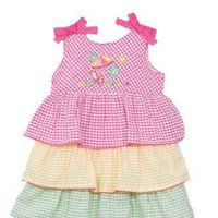 BT Kids Newborn Girls (0-9mo) 2pc pink/yellow/green seersucker dress - summer $10.00