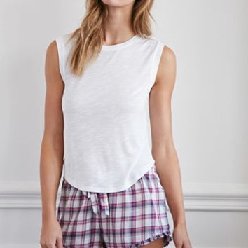 Ruffled-Hem Plaid PJ Shorts