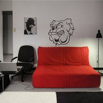 Angry Bulldog Head Dog Wall Art Sticker Decal 01