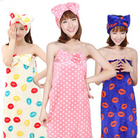 Sexy Women Bathrobe+ Headband Female Cute Bowknot strapless Tube Dress Ladies night gown Robe bath towel nightgown Sleepwear