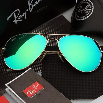 ESBONQK Ray Ban Aviator Sunglasses Green Flash/Gold Frame RB3025 112/68F 58mm