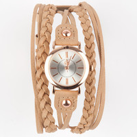 Fortune Nyc Faux Leather Wrap Band Watch Taupe One Size For Women 25208541301
