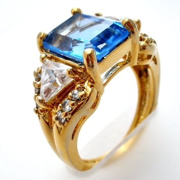 Blue Topaz Vermeil 925 Ring by Ross Simons Size 5