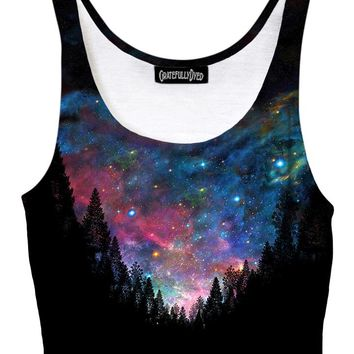 Galactic Valley Rainbow Forest Galaxy Crop Top