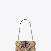 SAINT LAURENT CLASSIC MEDIUM MONOGRAM SAINT LAURENT SATCHEL IN BEIGE, RED AND BLUE FLORAL WOVEN POLYESTER AND COTTON AND BLACK LEATHER | YSL.COM