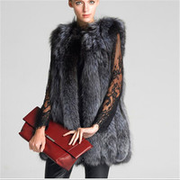 Plug Size Faux Fur Vest Sleeveless Fox Fur Coat Colete De Pele Female Long Design Elegant Slim Fox Fur Waistcoat