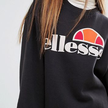 Ellesse Oversized Crew Neck Sweatshirt With Front Logo at asos.com