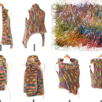 #Pastel #Rainbow #Faux #Fur #Vest - #Knitted #Sweater Made Of Soft And Cozy Fur Yarn