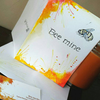 "Hand painted Blank Love Card: Valentines original painting, ""Bee Mine"" Bumble Bee Art, Romantic, Cute"