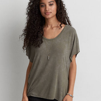 AEO Soft & Sexy Lace-Up Side T-Shirt, Olive