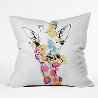 Casey Rogers Giraffe Color Throw Pillow