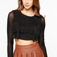 Fringe Bodice Black Long Sleeve Crop Top