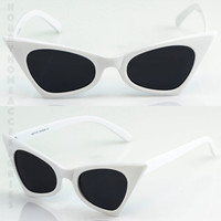 NEW Classic Retro Vintage Cat Eye Style Sun Glasses Small White Fashion Frame