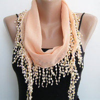 Summer scarf peach lace scarf chiffon scarf by sascarves on Etsy