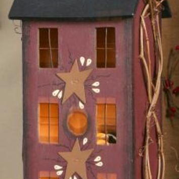 Primitive Tall Burgundy Wooden Electric Lighted Saltbox House
