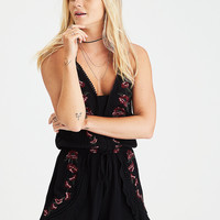 AEO Embroidered Halter Romper, True Black