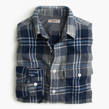 Wallace & Barnes flannel shirt in navy-and-grey plaid : Men shirts | J.Crew