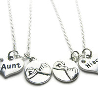 2 Aunt Niece Pinky Promise Necklaces,Aunt Niece Necklace, Aunt Niece Jewelry, Best Friend Necklace, Aunt Niece Gift, Aunt Niece BFF Necklace