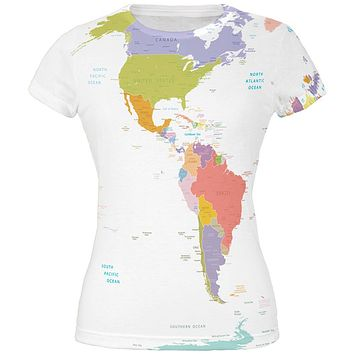 World Traveler Global Map All Over Juniors T-Shirt