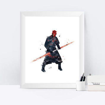Darth Maul Watercolor Print Star Wars Painting Star War Nursery Wall Art Home Decor Kids Room Decor Wall Art Star Wars Prints